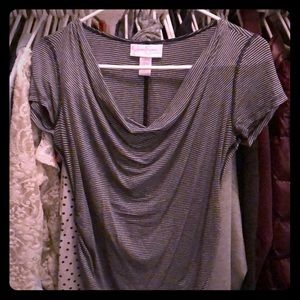 Jessica Simpson SS top, navy and grey Maternity